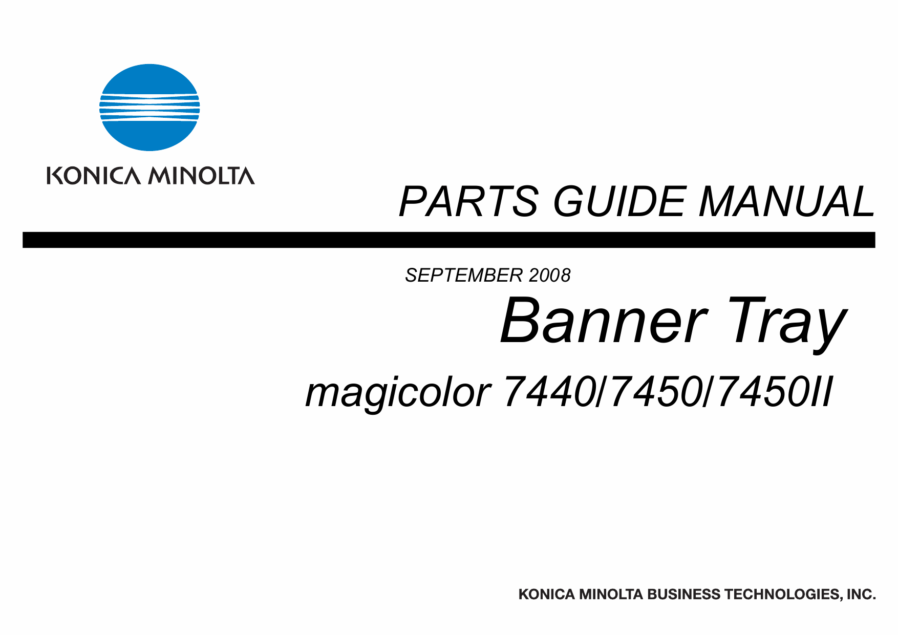 Konica-Minolta magicolor 7450 7440 7450II Banner-Tray Parts Manual-1
